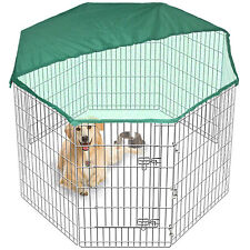 8 Side 91cm Tall Pet Play Pen Dog Cage Fold Metal Crate In/Out FREE Cover Large