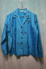 ⚜Woman's Embellished Silk Jacket by Laura Ashley size M~turquoise/black floral