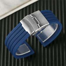 New Blue/Orange 20/22/24mm Watch Strap Sport Silicone Rubber Band Fold Clasp Men