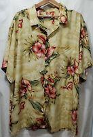 Vintage Men's Size 3XL Hilo Hattie Aloha Hawaiian Shirt 100% Rayon Floral