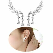 Ear Leaf Earrings Climber Crawler Silver Pins Feather Crawlers Climbers 1pair