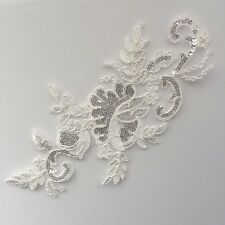 Bridal Lace(motif) Flower with Sequin  for Embellish/ Craft 27 x 13cm  off white