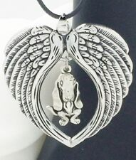 Basset Hound Puppy Dog Lovers Angel Wings Memory Leather Necklace