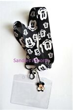 Disney Mickey Mouse Lanyard Neck Strap + clear pvc id holder + charm