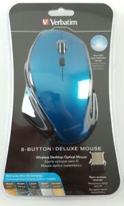 BLUE Verbatim Wireless 8-Button Mouse for Mac Windows Desktop PC Laptop Gaming