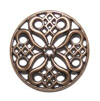 M368 Antiqued Copper 24mm Orante Round Link Metal Jewelry Component 10pc