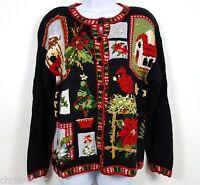 Tiara International Ugly Xmas Sweater Women's Medium Birds Flowers Tree Cardigan