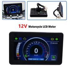 Waterproof Universal 12V Motorbike Odometer Tachometer RPM Speed Fuel LCD Gauge