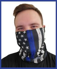 Usa Thin Blue Line Flag Face Cover Shield Face Mask Bandana Head Buff Gaiter