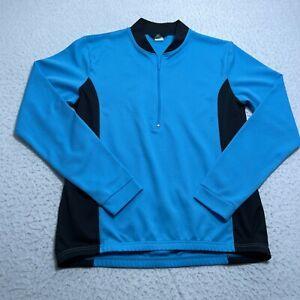 Canari Cycling Jersey Mens Large Blue 1/2 Zip Long Sleeve Shirt Back Pockets