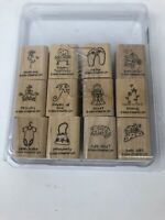 2004 Stampin' Up A LITTLE LOVE Set of 12 Wood Mounted Rubber Stamps Lot Baby Dog