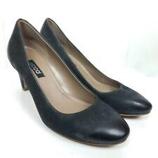 Ecco Black Heels Size 37 Classic Leather Heels Womens
