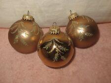 3 Krebs Glass Ball Christmas Ornaments - Pink/Salmon w/Stencil Glitter Design