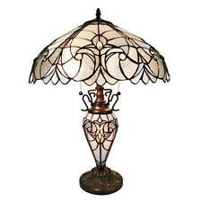 Table Lamp 2 Light Lit Base Stained Cut Glass Tiffany Victorian Styl Handcrafted