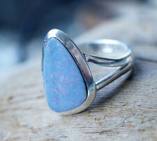 Silberring 56 Edelopal Boulder Opal Freiform Eckig Ring Silber Schlicht Blau
