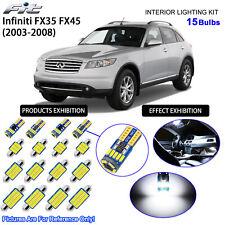 15 Blubs LED Interior Dome Light Kit Cool White For 2003-2008 Infiniti FX35 FX45