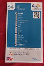 Fahrplan SNCF TER Aquitaine Tarbes - Bordeaux Linie 64 - nicht Deutsche Bahn