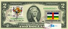 $2 DOLLARS 2009 STAR FLAG & COATS OF ARMS CENTRAL AFRICAN REPUBLIC VALUE $500