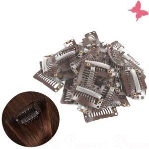 Tressenclips Toupetclips Haartressen Clip in Extensions Braun 30 x Tressen Clips