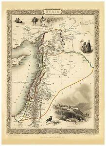 Old Vintage Map of Syria richly illustrated Tallis 1851