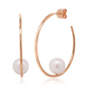 Womens 14K Solid Rose Gold Natural 8.5 MM Fresh Water Real Pearl Hoop Earrings