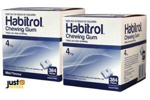 Habitrol Nicotine Gum 4mg MINT & FRUIT combo (1536 pieces, 4 box) NEW 01/2023