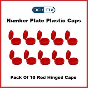 10 BEK-FIX Red Number Plate Replacement Caps Screw Covers Plastic Hinged Caps