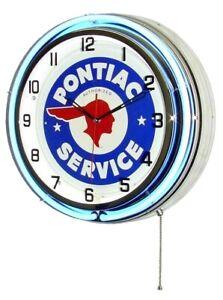 "19"" PONTIAC Service Sign Double Neon Clock TA GTO Firebird"