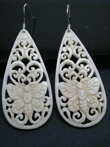 Butterfly Ornate Carved Water Buffalo Bovine Bone Sterling 925 Dangle Earrings