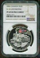 2002 CANADA $20 - D-10 LOCOMOTIVE - NGC PF69 UC /w  COA - SILVER COIN