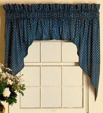 Classic Country Navy Blue Jabot Swag and Valance Curtain Set 36Lx84W Unlined NIP