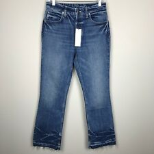 NEW Helmut Lang Women's Size 27 Frayed Hem High Rise Cropped Flare Blue Jeans
