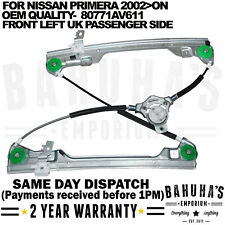 FITS A NISSAN PRIMERA P12 WP12 FRONT LEFT UK PASSENGER SIDE WINDOW REGULATOR NEW