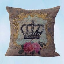 US Seller- shabby chic crown rose cushion cover cheap white pillow cases