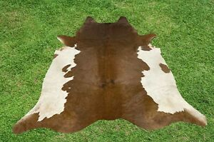 Cowhide Rugs Brown Real Hair on Cow Calf Hide Skin Leather Area Rug 5 x 5 ft