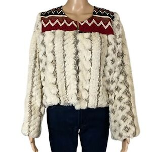 NIDODILEDA Jacket Textured Boho Hand Crafted Wool Blend Open Made In Greece XL