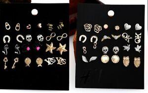 E805 Make a Wish Horse Shoes Key Wing Hearts Skull Cross 12 Pairs set Earrings