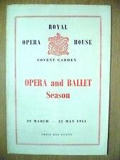 ROYAL OPERA HOUSE COVENT GARDEN OPERA AND BALLET 1954- MULTI PROGRAMME