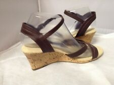 Corked Heel Strap Brown Sandal Ladies Size 8