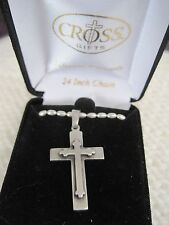 "Pewter cross necklace w/21"" beaded chain-cross is 1.5""L-inset design-NIB"