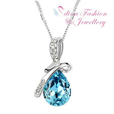 18K White Gold GP Made With Swarovski Crystal Aquamarine Angel Teardrop Necklace