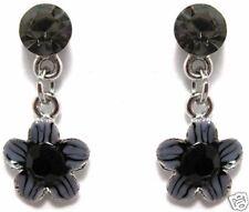 Black Diamond Hem Austrian Crystal Enamel EARRINGS