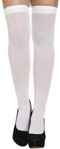 WOMEN LADIES FANCY DRESS OPAQUE SCHOOL GIRL HOLD UPS WHITE STOCKINGS One Size