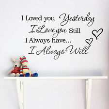 """""""I Love You""""Quote DIY Home Decor Removable Decal Room Wall Sticker Vinyl Art hs"""