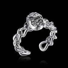 Size 7 Skeleton Gothic Skull Biker Bone Silver Crystal Ring Men Women Jewelry