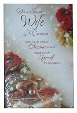 (210) Single Christmas Card - Wife- Flowers