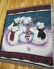 Polar Bears Making a Snowman Woven Throw Blanket Winter Christmas Fringed HMK