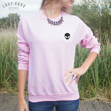 Pocket Outline Alien Head Sweater Top Sweatshirt Jumper Grunge Tumblr UFO Space
