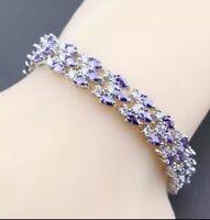 Purple Amethyst White Topaz Triple Layer  Gemstone 925 Sterling Silver Bracelet