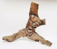 "VTG Driftwood Sculpture Art Tribal Lacquered Primitive Home Decor LG 18""x15""x7"""